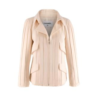 Chanel Cream Wool Knit Crepe Zip Pintuck Jacket