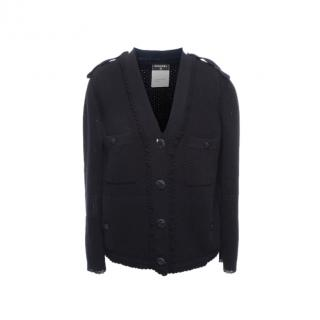 Chanel Black Open Knit Cardigan with Epaulettes