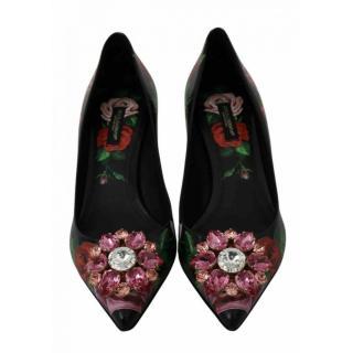 Dolce & Gabbana Black Floral Print Crystal Embellished Pumps