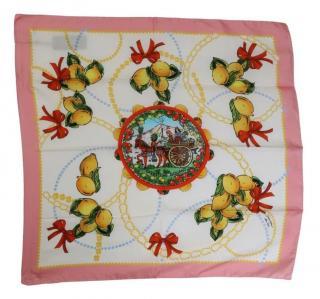 Dolce & Gabbana Lemon Print Silk Scarf
