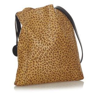 Bottega Veneta Leopard Print Intrecciomirage Leather Crossbody Bag