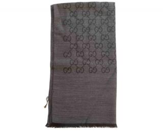 Gucci Grey Reversible Monogram Wool & Silk Scarf