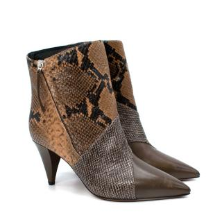 Isabel Marant Snakeskin Embossed Latts Ankle Boots