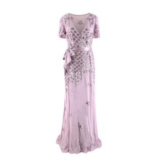 Temperley Starlet Lilac Embellished Georgette Wrap Dress