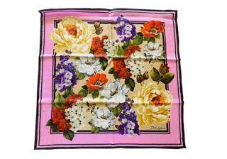 Dolce & Gabbana Peony Print Silk Pink Scarf