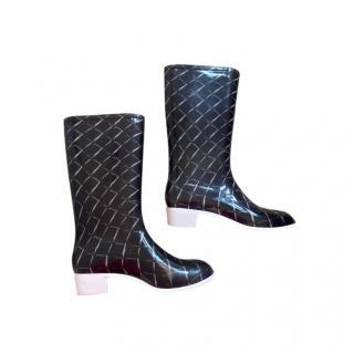 Chanel Black & White Rubber Rain Boots