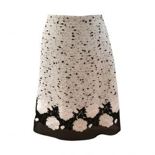 Giambattista Valli Black & White Tweed Chiffon Trim A-Line Skirt