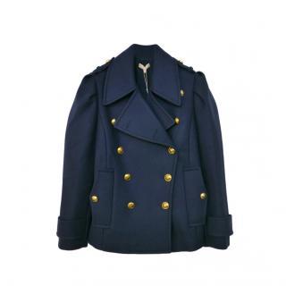 Michael Kors Collection Navy Blue Wool Pea Coat