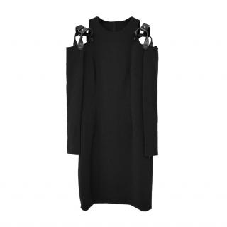 Moschino Couture Black Harness Cold Shoulder Dress