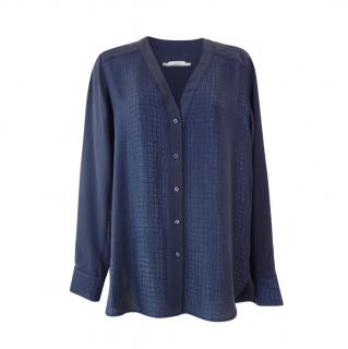Vince Navy Textured Long Sleeve Blouse
