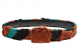 Prada Leather Tri Colour Striped Calf Hair Belt - Size 95