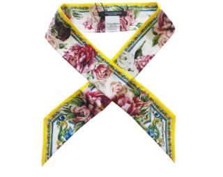 Dolce & Gabbana Floral Print Silk Twilly