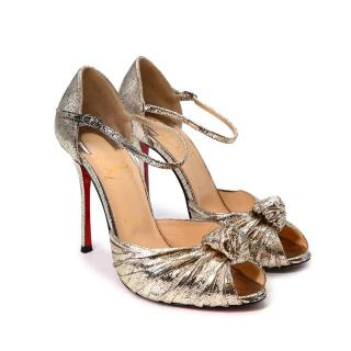Christian Louboutin Metallic Gold Knotted Leather Peep Toe Pumps