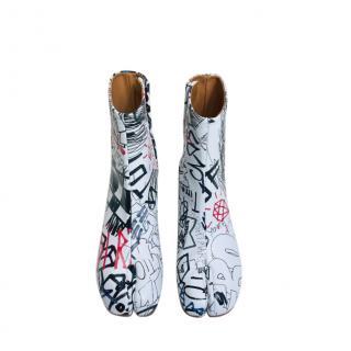 Maison Margiela Graffiti Print Tabi Ankle Boots