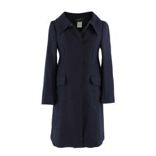 Alberta Ferretti Navy Wool Felt Raw Edged Coat