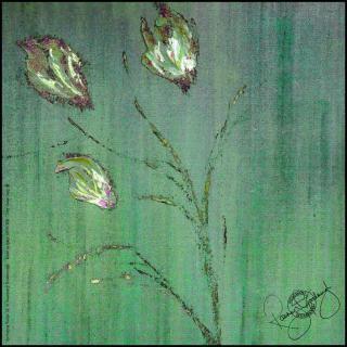 Rosemary Goodenough Green Springin Tulips IX Silk Twill Scarf