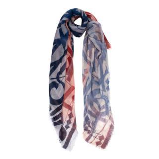 Louis Vuitton Cashmere Blend Pink & Blue Tone Ombre Design Shawl