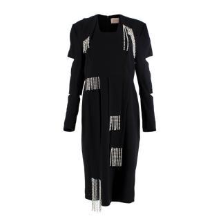 Christopher Kane Crystal Fringing Black Crepe Cut-Out Dress