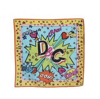 Dolce & Gabbana Comic Print Silk Scarf