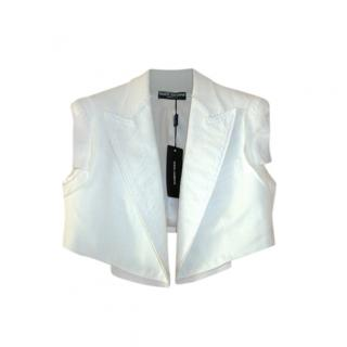 Dolce & Gabbana Ivory Wool Blend Crop Jacket
