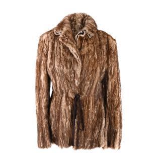 Prada Light Brown Mink Fur Self-Tie Waist Jacket
