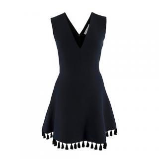 Christian Dior Wool Silk Black Tassel Embellished Hem V-Neck Dress