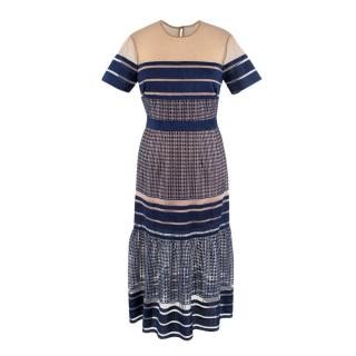 Self Portrait Stripped Illusion Tulle Navy Embroidered Dress
