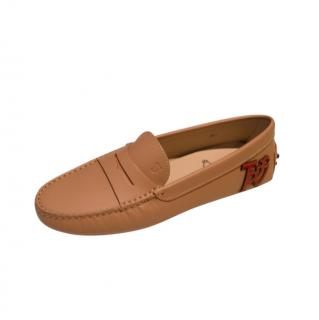 Tod's Tan Embroidered Gommino Loafers