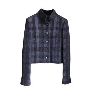 Chanel Navy & Black Tweed Check Coco Brasserie Jacket