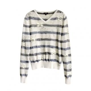 Chanel Striped Knit Distressed Camellia Jumper