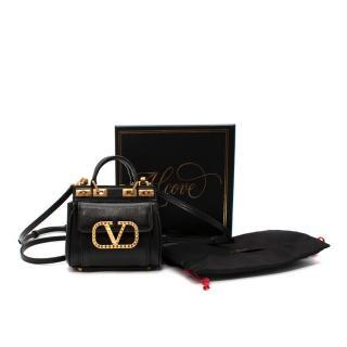 Valentino Alcove Micro V-Logo Grained Leather Tote
