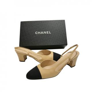 Chanel Beige & Black Slingback Sandals