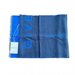 Givenchy Blue Reversible Virgin Wool Blend Scarf