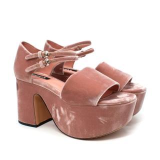 Rochas Pink Double Strap Buckled Velvet Platform Heels