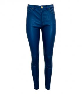 Escada Sports Blue Lambskin Leather Pants
