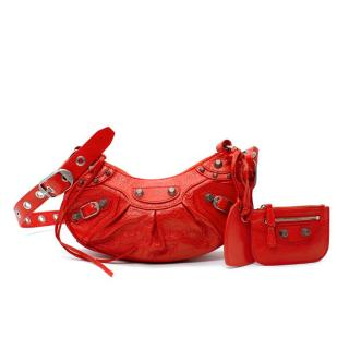 Balenciaga Le Cagole XS Red Arena Lambskin Leather Shoulder Bag