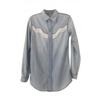 Ganni Fringed Denim Western Shirt
