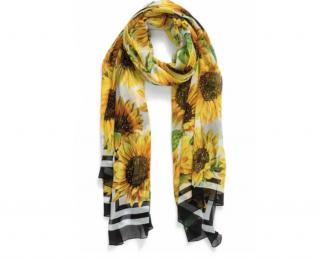 Dolce & Gabbana Sunflower Print Silk Scarf