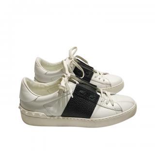 Valentino White Open Rockstud Sneakers