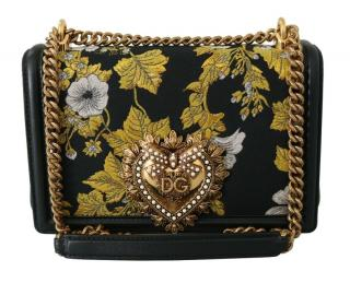Dolce & Gabbana Black Embroidered Shoulder Bag