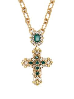 Dolce & Gabbana Large Gold Tone Green Crystal Cross Pendant Necklace