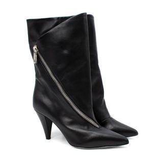Givenchy Black Leather Zip Detail Heeled Ankle Boots