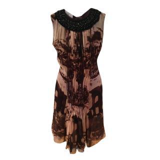 Prada Embellished Chiffon Pleated Silk Dress