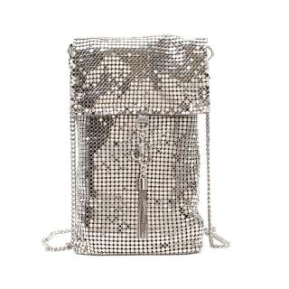 Jimmy Choo Silver Chainmail Mesh Crossbody Phone Pouch