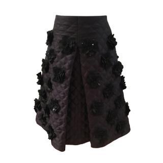 Mulberry Black Floral Applique A-Line Skirt