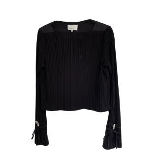 3.1 Phillip Lim Ribbed Knit Black LS Top