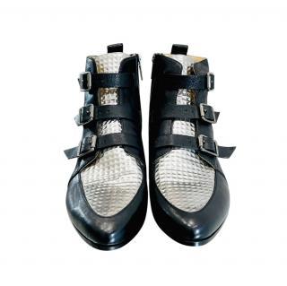 Jimmy Choo Black & Silver Marlin Ankle Boots