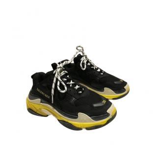 Balenciaga Black & Yellow Triple S Sneakers