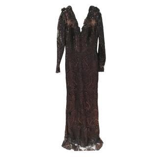 Marchesa Black Floral Applique Embellished Gown