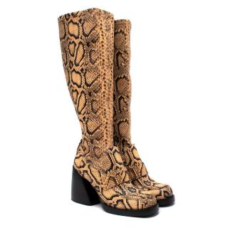 Chloe Adelie Python-Effect Leather Heeled Knee High Boots